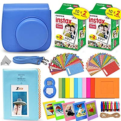 Fujifilm Instax Mini Instant Film (2 Twin Packs, 40 Total Pictures) + Fitted Case for Instax Mini 9 Instant Camera, Assorted Colorful Stickers/Frames, Photo Album + More from HeroFiber