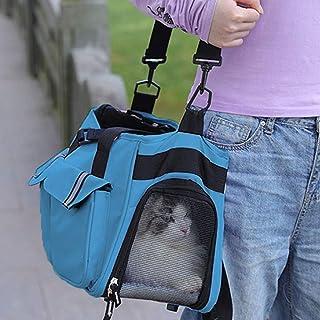ペットバッグ ファッション新しい猫と犬のポータブルショルダー斜めハンドバッグハンドバッグペットキット 毎日の散歩や週末の冒険に (ブルー)