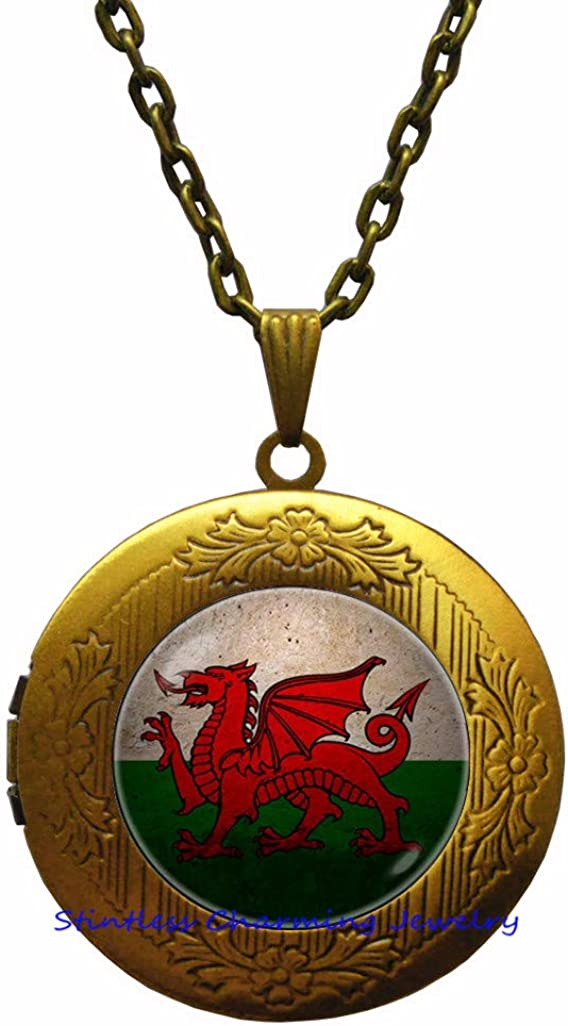 Wales Max 72% OFF Welsh security Flag Locket Pend Dragon Necklace Jewelry