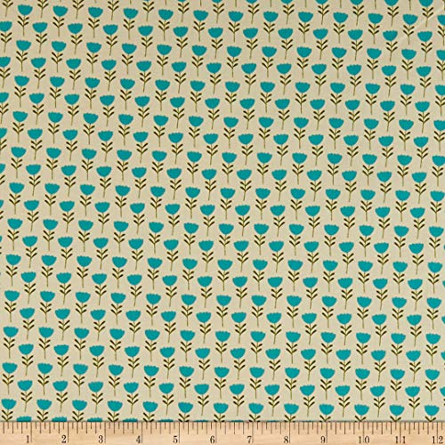 Michael Miller 0653090 Critter Tails Tulip Trail Teal Fabric Stoff, Textil, blaugrün, By The Yard