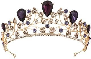Wiipu 2.3 Adult Drip Crystal Leaf Wedding Prom Tiara Crown (A1748) (purple)