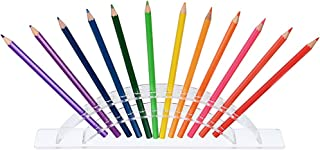 Hipiwe 12 Slots Pen/Pencil Display Stand, Clear Acrylic Pen Holder Rack Office/Home Organizer for Colored Pencils, Makeup Brush, Paint Brush, Eye Liner, Eyebrow Pencil Storage