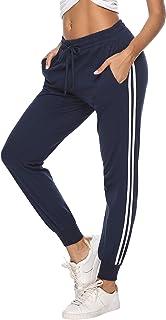 Pantalon Chandal Mujer Largos Pantalones de Deporte Yoga Fitness Jogger Pantalones de Punto de Rayas