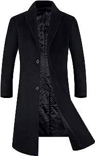 APTRO Men's Winter Full Length Trench Coat Wool Blend Top Coat Fleece Lining Overcoat
