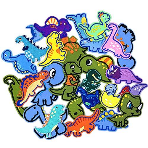 otutun Patch Sticker , 26 pcs Dinosaurio Parches Ropa Termoadhesivos DIY Coser o Planchar en Parches Ropa Niños , Parche de ropa Decorativos Parches Apliques Termoadhesivos Cute DIY Coser o Planchar