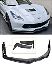 for 2014-2019 Chevrolet Corvette C7 | Z06 Stage 3 Style ABS Plastic Primer Black Front Bumper Lip Splitter with Painted Carbon Flash Side Extension Winglets