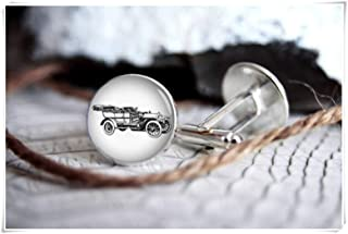 Gemelos con diseño de coche vintage con texto en inglés «We are Forever Family», gemelos personalizados, regalos para homb...
