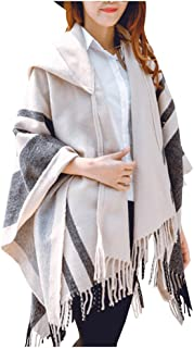 Women's Plaid Capes Shawl, Pattern Wrap with Hoodies Thicken Poncho Cape