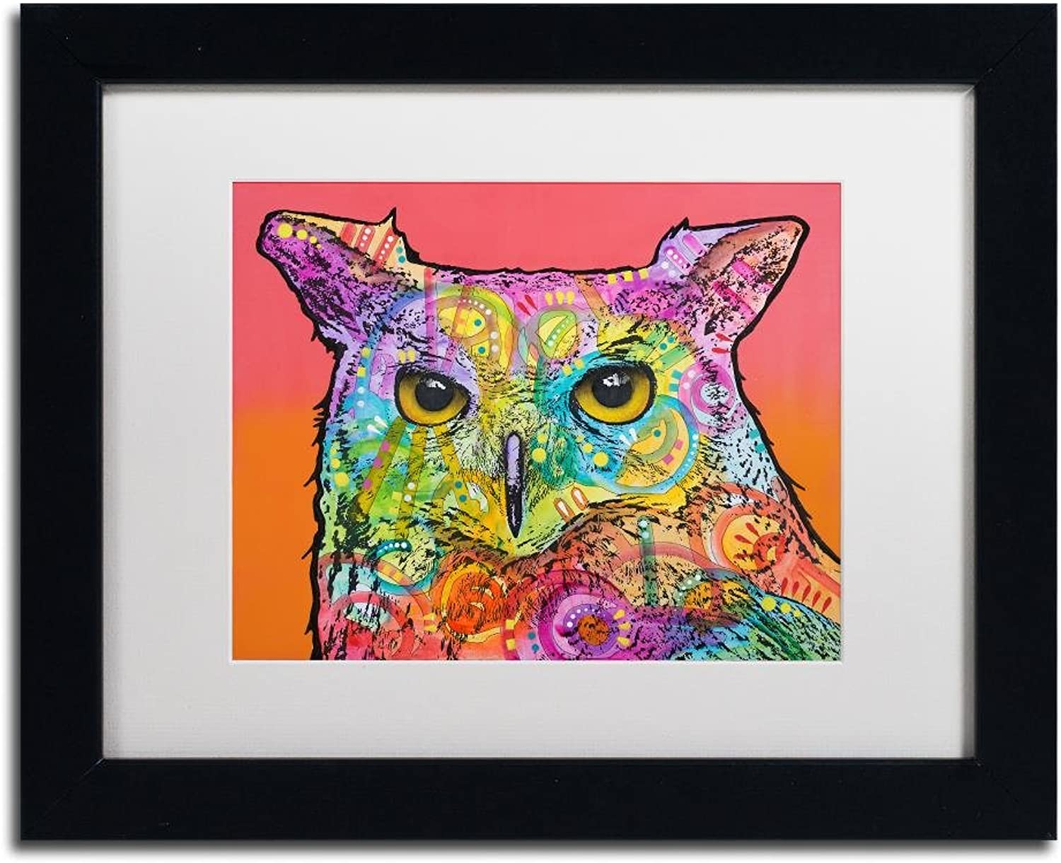 Trademark Fine Art Red Owl by Dean Russo, White Matte, Black Frame 11x14