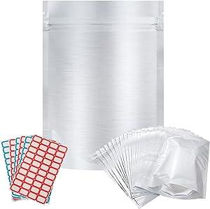 50pcs Mylar Bags 1 QUART - Vonhen 7.4 Mil 10.4