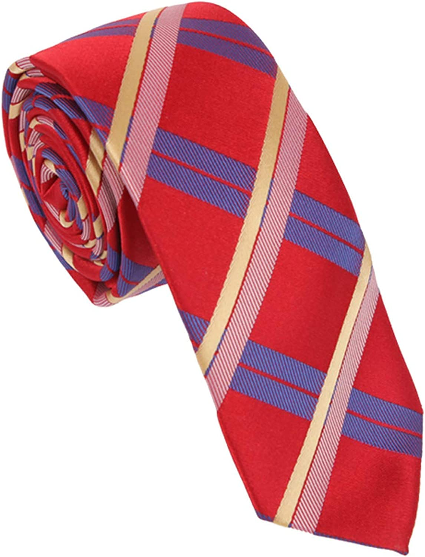 Skinny Tie For Men Dan Smith Romance Plaid Microfiber Slim Necktie