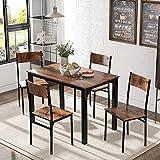 Dawns Tavolo da pranzo con 4 sedie, sala da pranzo e soggiorno, in stile vintage, marrone vintage, con sedie da bar, tavolo da cucina design industriale, per cucina (ufficio)