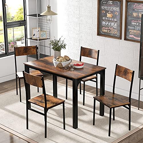 Juego de mesa de comedor con 4 sillas para balcón, comedor y salón, color marrón vintage