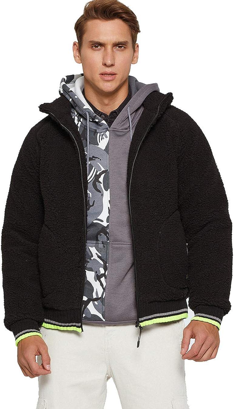 Men's Fleece Jackets Contrast Color Coat Full Zip Wool Sweatshirt Warm Thick Fashion Coats