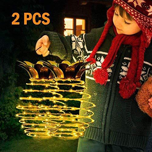 YAOLAN 2 Stück Weihnachts Garten Dekoration Solar Laterne Lichterketten IP55 wasserdichte Für Outdoor Neuheit Ananas Lichter Hängelampen