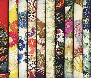 10 Multi-Color Asian Japanese Fabrics with Gold Metallic: Fat Quarter Bundle #24 (2 1/2 Yards)