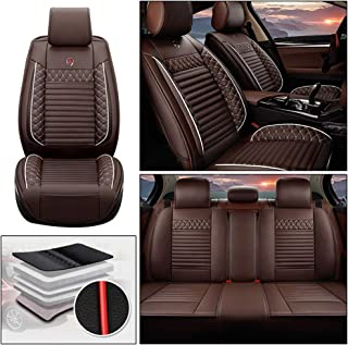 5 Seat Leather Car Seat Cover Full Set Fit for Nissan 370Z GT-R March Livia Tiida Sylphy SENTRA Sunny Almera Teana Rogue Murano Paladin D22 Patrol Automotive Seat Covers Accessories Type A  Coffee