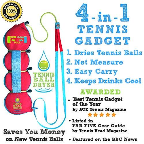 Pelota de Tenis Secador - 4 - en-1 de Tenis Accesorios - votada como la Mejor Pista Gadget ' - Incluye 4 Grandes características en 1 Tenis Regalo para Cualquier Jugador