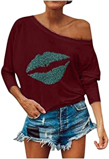Quealent Hoodie for Women,Women's Fashion Sexy Lips Print Off Shoulder Tops Casual Loose Batwing Sleeve Sweatshirts Blouse