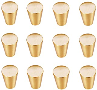 Circular Truncated Cone Shape Heavy Duty Solid Brass Gold Decorative Cabinet Knobs Pure Copper Kitchen Hardware Cupboard Drawer Handle Dresser Pull Set of (12 Brass Gold)