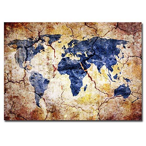 Pintura sobre lienzo Impresión artística Decoración del hogar Retro Mapamundi Imágenes de pared Impresión giclée Impresión de pared 60x90cm Con marco azul