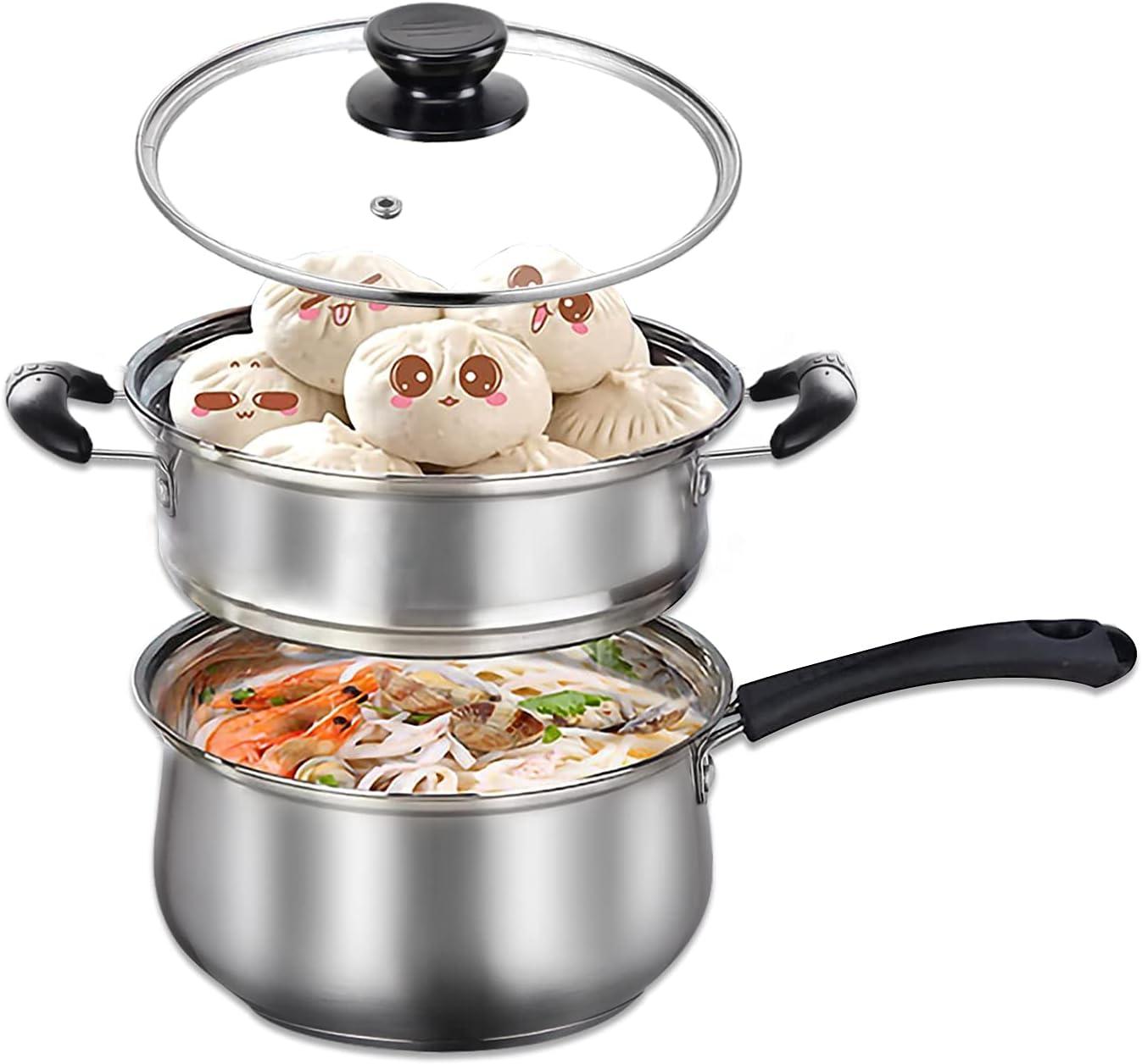 MANO 2 Quart Saucepan With Steamer Insert and Lid Stainless Steel Sauce Pan with Steamer Rack Nonstick Milk Pot Butter Warmer Melting Cooking Pot Heatproof Handle Multipurpose Cookware