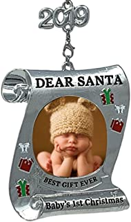 BANBERRY DESIGNS Baby's First Christmas Keepsake Frame - 2019 Dated Ornament for Newborn - Dear Santa Picture Holder - Baby 1st Photo Ornaments