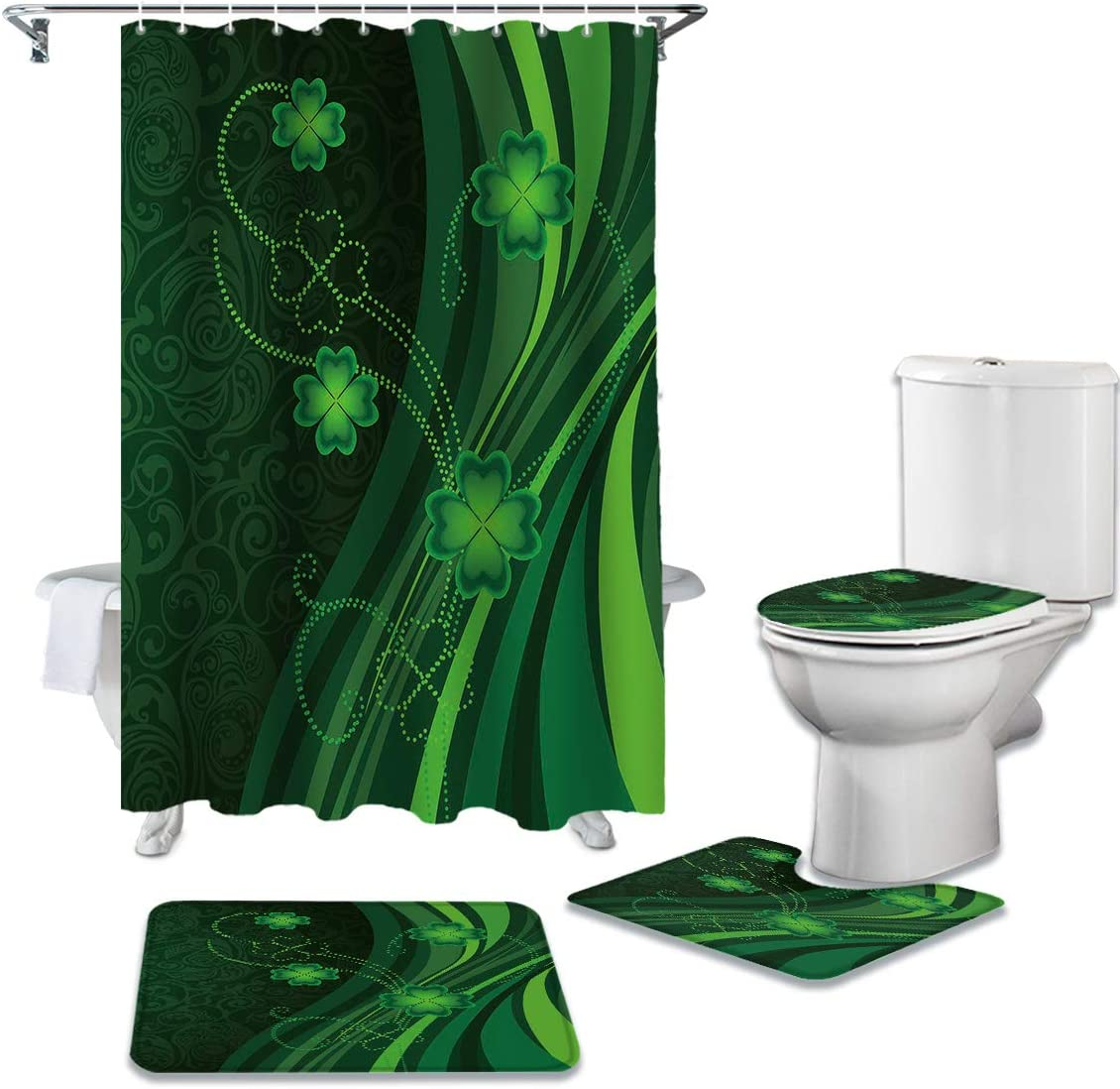 CHARMHOME Long-awaited 4 Piece Shower Curtain Cheap SALE Start with Non-Slip Rug Toilet Sets