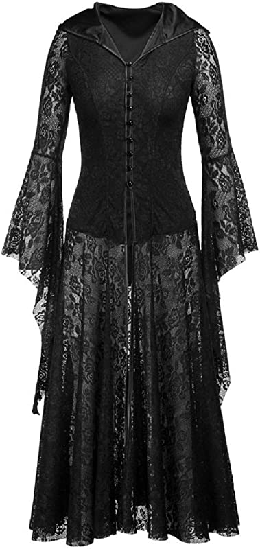 Tsmile Women Halloween Dress In Black Hooded Lace Long Bell Sleeve Laced Pin Up Solid Ankle Length Party Prom Dress