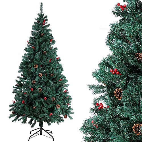 Homfa Árbol Navidad Artificial de Pino PVC con Soporte Metálico Decoración Navideña Verde 210cm 1200 Ramas