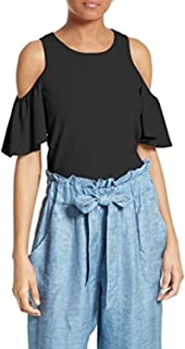 MILLY Flutter Sleeve Top Black Cold Shoulder Ruffle Women's Knit Large L