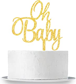 Gold Glitter Oh Baby Cake Topper - Baby Shower Party Decoration Supplies for Boy and Girl
