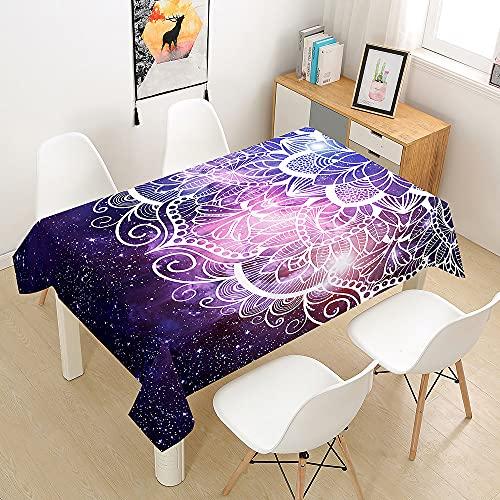 Morbuy Manteles Mesa Mandala Impresión Mantela, Rectangular Impermeable Antimanchas Lavable Poliéster Manteles para Cocina o Salón Comedor Decoración del Hogar (Púrpura,90x90cm)