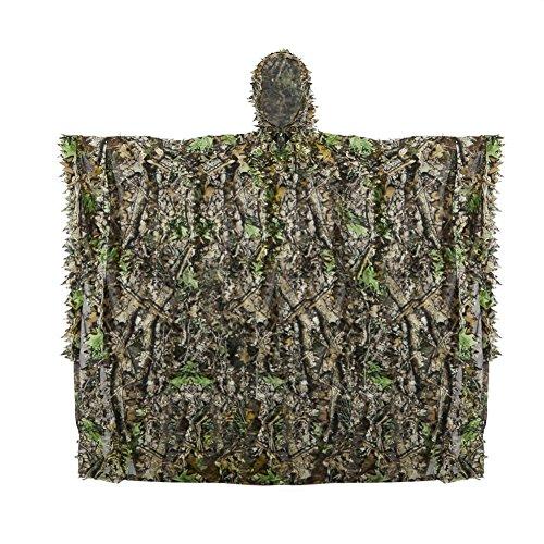Zicac Telo mimetico, Ghillie Poncho 3D Foreste delle Foglie Woodland Camo Abbigliamento Mimetico Giungla Caccia