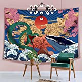 Hexagram Aesthetic Japanese Tapestry Anime Tapestry Wall Hanging Trippy Whale Snake Wall Art Ukiyo-e Ocean Wave Sun Wall Tapestry for Bedroom Living Room Dorm Room Home Decor, 51 X 59 Inches