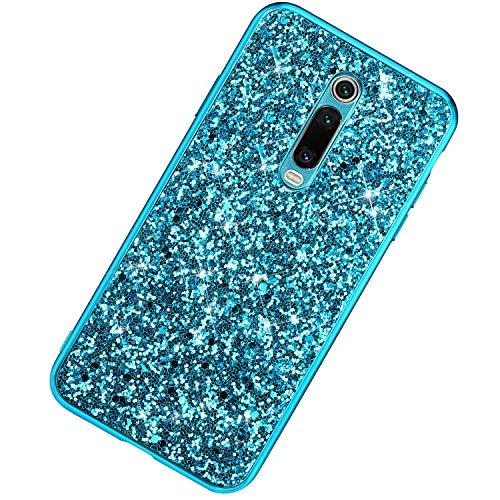 Funda Compatible con Xiaomi Redmi K20/K20 Pro.Lentejuela Brillo Chapado Híbrido Silicona Duro Carcasa Color Purpurina Glitter Cover Moda Ultrafino PC+TPU Lujo Alto Grado Protective Bumper Case,Azul