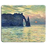 dealzEpic - Art Mousepad - Natural Rubber Mouse Pad with Famous Fine Art Painting of The Cliff, Etretat, Sunset by Claude Monet - Stitched Edges - 9.5x7.9 inches
