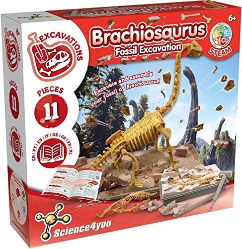 Science4you - Brachiosaurus Fossil Escavation - Juguete Cientifico y Educativo, Incluye Fosiles, Dinosaurios y un Libro Educativo, para Niños +6 Años