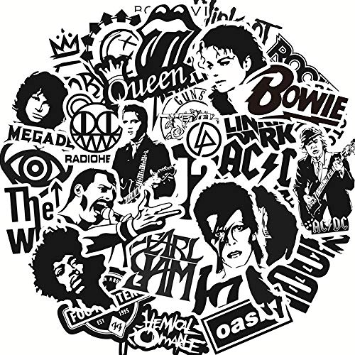 Rock Band Music Vinyl Stickers Pack 50pcs, Black and White Stickers Decals Laptop Cars Guitar Bumper Punk Classic Vinyl Waterproof Graffiti(Black and White)