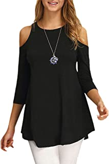 Women's Cold Shoulder Tops 3/4 Sleeve Shirt Casual Tunic Blouse Top