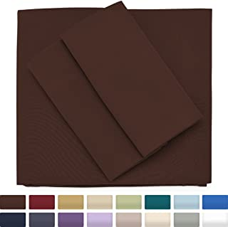 Cosy House Collection Premium Bamboo Sheets - Deep Pocket Bed Sheet Set - Ultra Soft & Cool Bedding - Hypoallergenic Blend from Natural Bamboo Fiber - 3 Piece - Twin, Chocolate