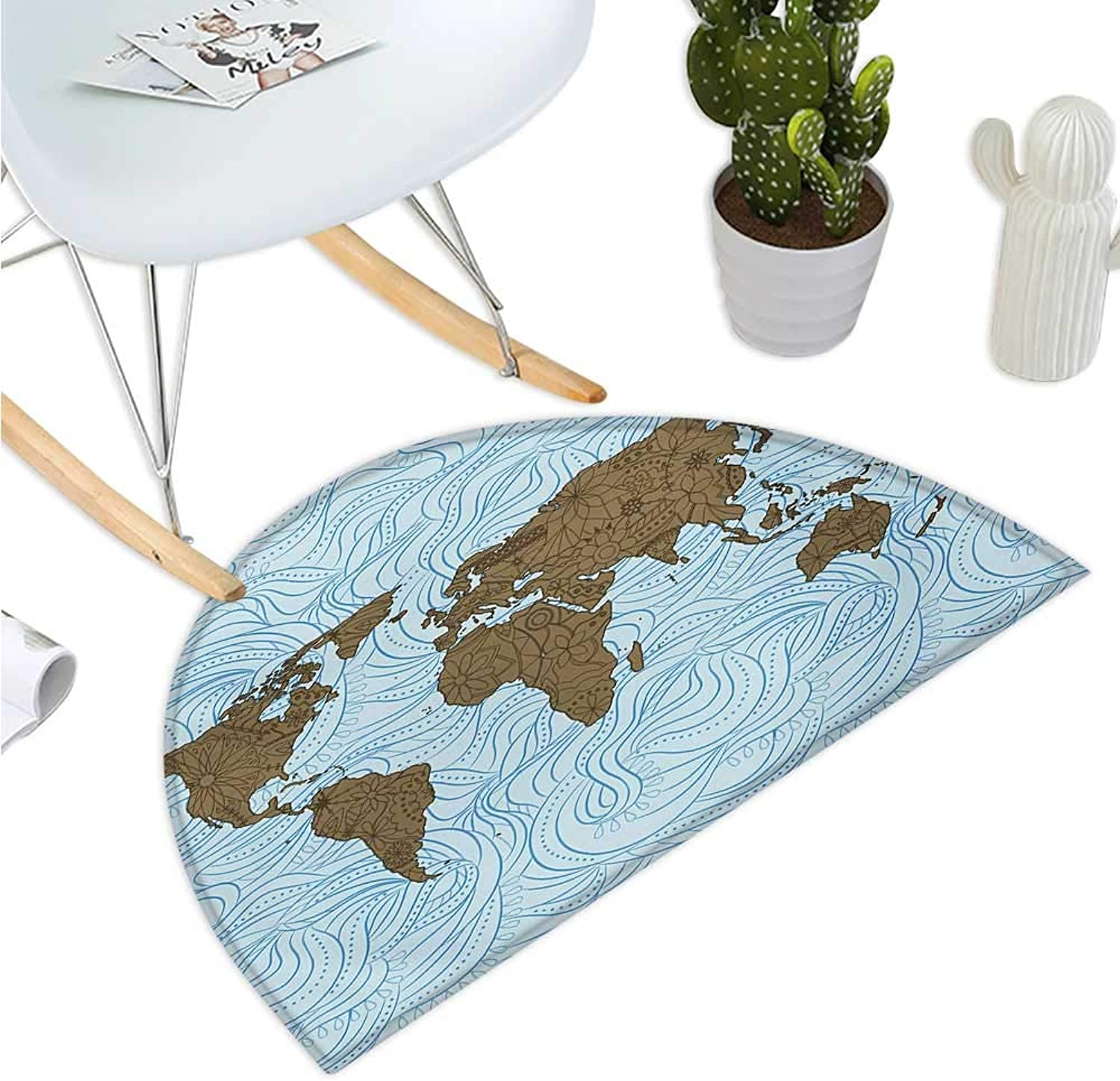 Floral World Map Half Round Door mats World Map with Wavy Ocean Lines Flower Continent Icons Artful Image Bathroom Mat H 43.3  xD 64.9  Cocoa Pale bluee