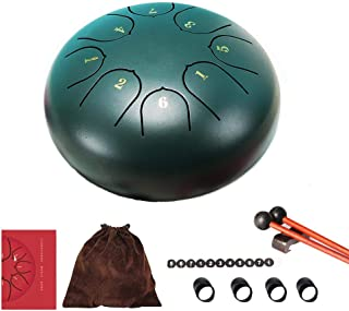 Steel Tongue Drum, Instrumento de Percusión de Música Tambor de Lengua Acero Tambor de Mano 6 Pulgadas 8 Tonos Lotus Hand Pan Drum para Meditación Yoga con Palos de Notas Mazos de Tambor y Bolsa