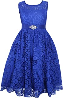 Áo quần dành cho bé gái – Little/Big Girls Solid Tulle Pleated Lace Dress Flower Girl Dress Wedding Party Dress with Belt