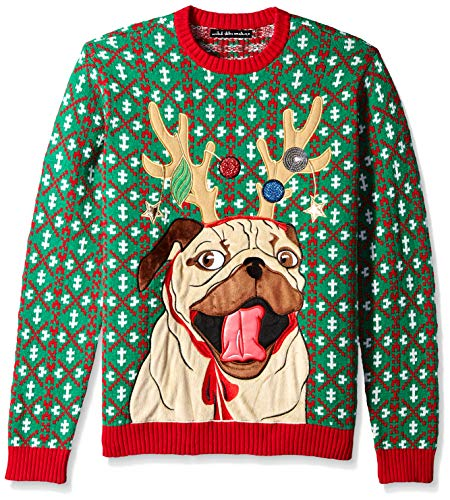 Blizzard Bay Men's Ugly Christmas Sweater Dogs, Dark Green, Large