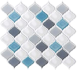 FAM STICKTILES Peel and Stick Wall Tile for Kitchen Backsplash-Slant Blue&White Arabesque Tile Backsplash-Kitchen Backsplash Tiles Peel and Stick Wall Stickers,6 Sheets