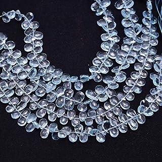 Jaipur Gems Mart AAA + Aguamarina Natural 7x5mm Perlas Facetadas Pera Briolette | Cuentas de briolette de Piedras Preciosa...