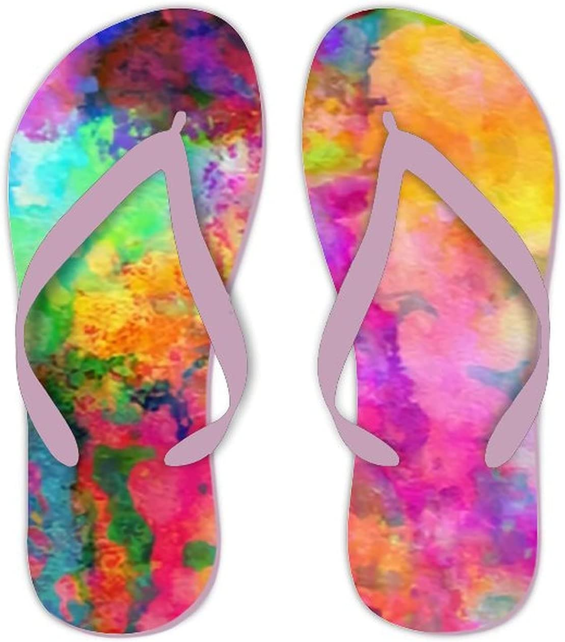 UTF4C Summer Flip Flops for Men Women Colorful Abstract Composition Soft Lightweight Non Slip Sandals for Shower Beach Pool Bathroom Flat 10