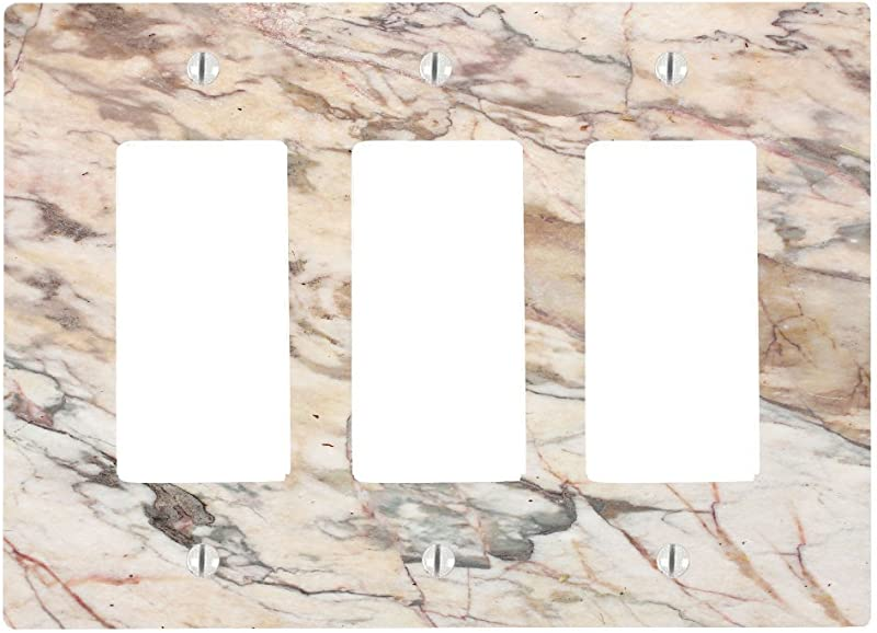 Moonlight Printing Marble Background Pattern 3 Gang Decorator Dimmer Wall Plate 6 34 X 4 5in