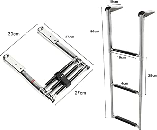 Prairie Metal Telescoping 3 Step Ladder Extensionable Swim Step Boat Ladder with Wider Steps Stainless Steel for Marine Boat Yacht Swimming Pool